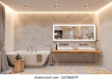 Interior design of a bathroom, 3d illustration. The interior is designed in a Scandinavian style.