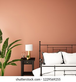 interior design for bed room or reception with sofa,plant,sidetable,props on wood floor and pink and black in Scandinavian style background / 3d illustration,3d rendering