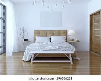 Interior design: Big modern Bedroom. 3D render