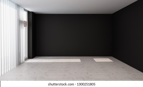 Interior design. Black walls with large windows in an empty room without furniture. 3D rendering