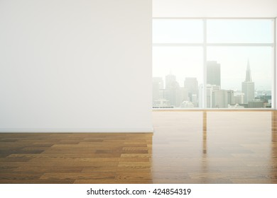 Interior design with blank wall, shiny wooden floor and city view. Mock up, 3D Rendering