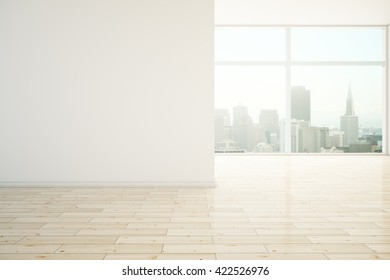 Interior design with blank wall, wooden floor and city view. Mock up, 3D Rendering