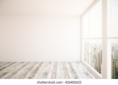 Interior design with blank wall, wooden floor and windows with New York city view. Mock up, 3D Rendering