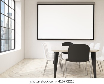 Interior design with blank whiteboard, table and chairs and New York city view. Mock up, 3D Rendering