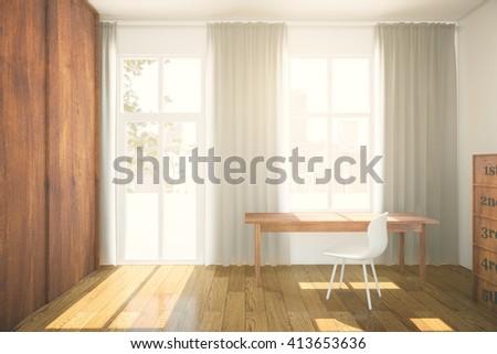Interior design brown wooden wardrobe parquet stockillustration