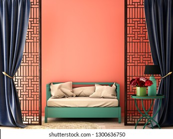 Interior design ,Chinese style for living area in luxury house or hotel with ancient Chinese style furniture and perforated wood door ,3d illustration,3d rendering,3d model