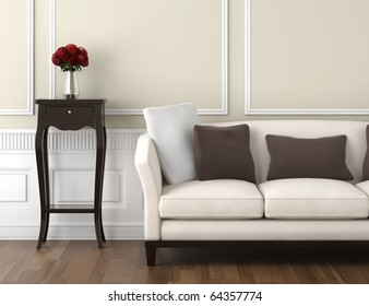 interior design of classic room in beige and white colors with couch table and a vase of roses, copy space on top half