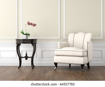 interior design of classic room in beige and white colors with couch table and a vase with orchid, copy space on top half
