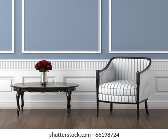 interior design of classic room in blue and white with chair and a vase of roses on the table