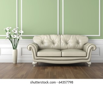 interior design of classic room in green and white colors with couch  and a vase of calla lily flowers, copy space on top half