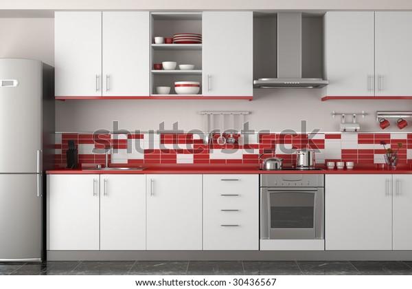 Interior Design Clean Modern Red White Stock Illustration 30436567