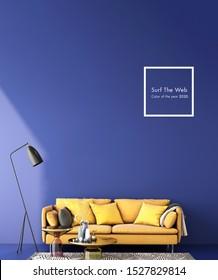 interior design for color trend 2020,3d rendering,3d iilustration