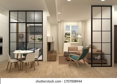Interior design of a compact apartment 3D render