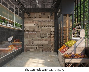 Interior design of a delicatessen grocery store. Loft style. The trading equipment with cheese, wine, fruit. 3D visualization.