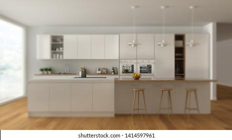 Interior design depth of field, contemporary scandinavian minimalist white kitchen with wooden and white details, modern architecture concept idea, 3d illustration
