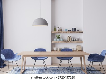 Interior design for dining room with velvet blue chairs, wooden table and vintage carpet on light gray background, Scandinavian style, 3D render, 3D illustration