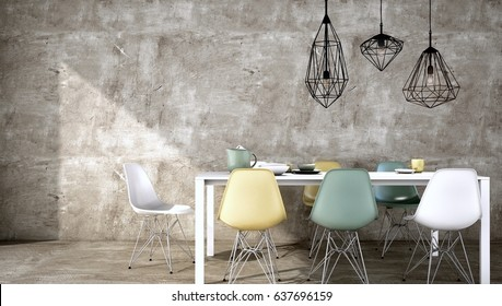 Interior design Dinning or meeting area space with table , chair, lamp, pendant ,floor and wall concrete background , 3d rendering,3d illustration,3d model