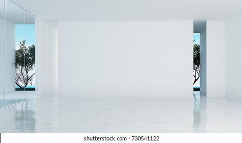 The interior design of empty living room and white wall texture and sea view / 3D rendering new scene new model