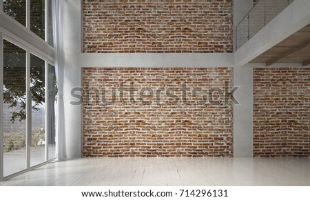 The Interior Design Of Empty Living Room And Leather Sofa Set And Red Brick  Wall Texture