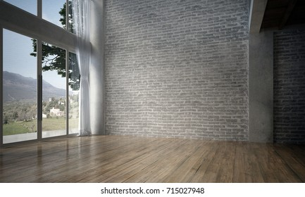 The interior design of empty room and living room and brick wall texture background / 3D rendering new scene new model