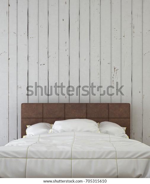 Interior Design Head Bed Bedroom White Stock Illustration 705315610