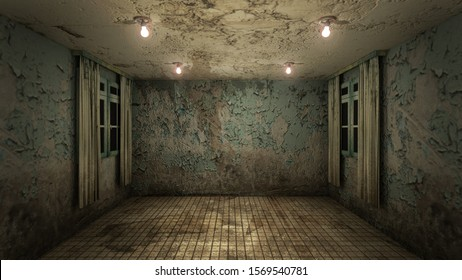 The interior design of horror and creepy damage empty room., 3D rendering.