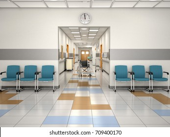 Interior design hospital reception. Place Waiting. 3d illustration