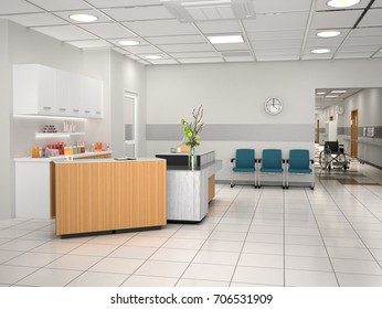 Interior design of the hostel reception. 3d illustration
