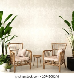 interior design for living area or reception with , rattan armchair,plants,cabinet on wood floor and concrete background / 3d illustration,3d rendering