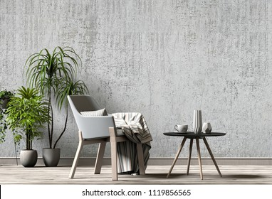 interior design for living area or reception with armchair, plant. 3d render