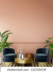 interior design for living area or reception with deep pink wall , armchair,plant,on tile floor and green and pink classic wall background / 3d illustration