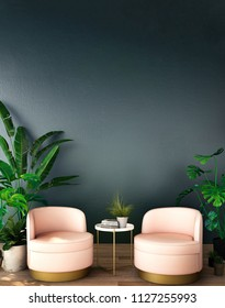 interior design for living area or reception with armchair,plant on wood floor and deep blue background / 3d illustration