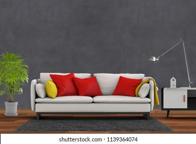 interior design for living area or reception with sofa ,plant. 3d render