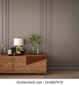 interior design for living area or reception with gray classic wall panel, armchair,cabinet and wooden floor background / 3d illustration,3d rendering