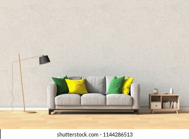 interior design for living area or reception with sofa. 3d render