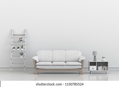 interior design for living area or reception with sofa,plant. 3d render
