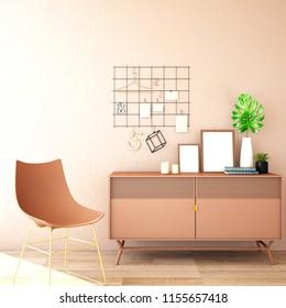interior design for living area or reception with armchair,plant,frame,cabinet on wooden floor and pink background / 3d illustration,3d rendering