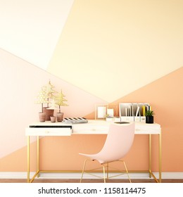 interior design for living area or reception with desk on wooden floor and pink background / 3d illustration,3d rendering