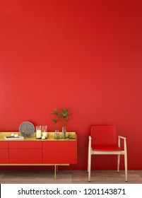interior design for living area or reception with cabinet on wood floor and red background  / 3d illustration,3d rendering
