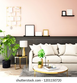 interior design for living area or reception with sofa,plant,sidetable,props on wood floor and pink and black in Scandinavian style background  / 3d illustration,3d rendering