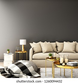 interior design for living area or reception with sofa,plant,sidetable,props on wood floor and white and black in Scandinavian style background  / 3d illustration,3d rendering