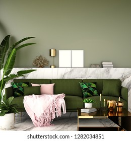 interior design for living area or reception with classic wall background / 3d illustration,3d rendering