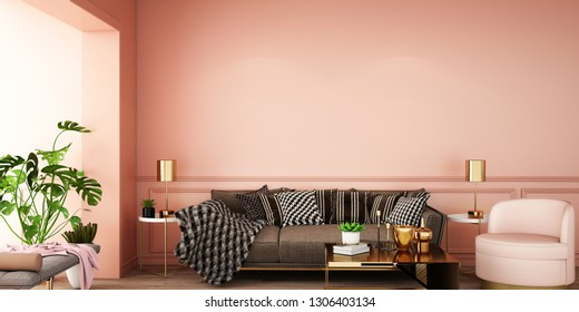 interior design for living area or reception with sofa ,armchair,plant,cabinet on wooden floor background / 3d illustration,3d rendering