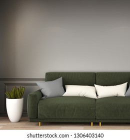 interior design for living area or reception with sofa ,armchair,plant,cabinet on wooden floor background 3d rendering