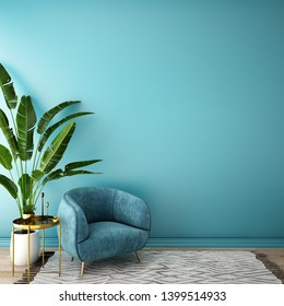 interior design for living area or reception with grey carpet , armchair,plant,cabinet on wooden floor background / 3d illustration,3d rendering