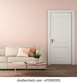 interior design of living area with sofa, table ,wood floor and pink color wall ,3d rendering,3d illustration