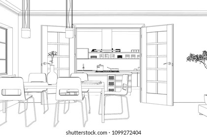 Living Room Interior Drawing Architectural Design Stock Vector