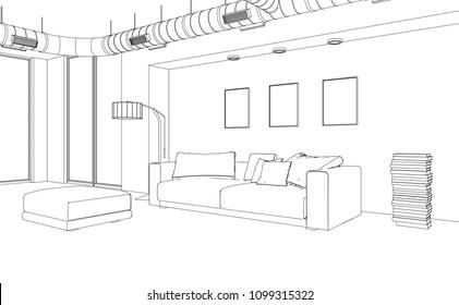 Interior Design Living Room Drawing 3D Illustration