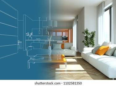 Interior Design Living Room Drawing Gradation Into Photograph 3D Illustration