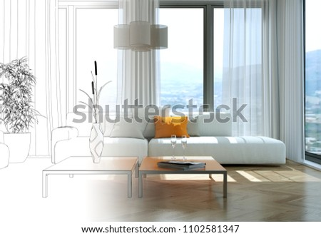Interior Design Living Room Drawing Gradation Into Photograph 3D Illustration & Interior Design Living Room Drawing Gradation Stock Illustration ...